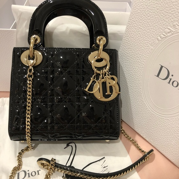 numerousinvariety shop for hot-selling Mini Lady Dior Black patent Cannage calfskin